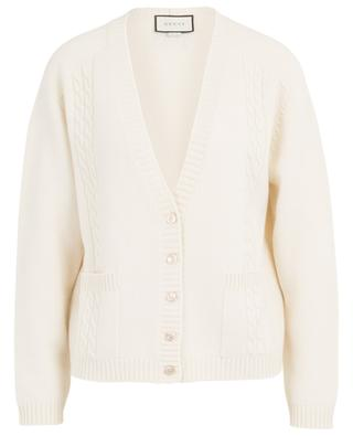 GG thick wool blend cable knit cardigan GUCCI