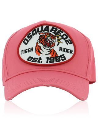 Casquette en coton brodé et déchiré Tiger Rider DSQUARED2