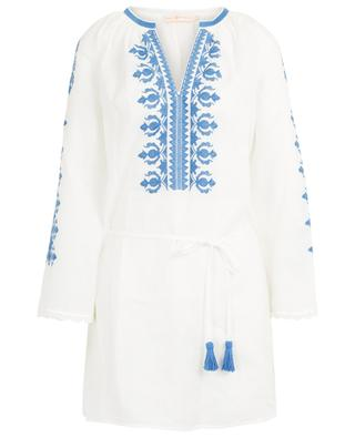 Embroidered linen beach tunic TORY BURCH