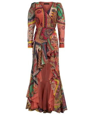 Long cotton and silk print wrap dress ETRO
