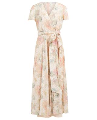 Evanescent Flowers long wrap effect lamé dress RED VALENTINO