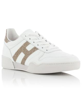 H357 Retro Volley white leather sneakers adorned with golden glitter HOGAN