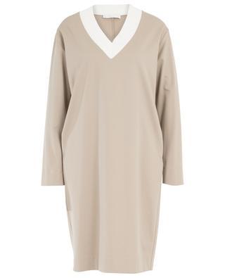 Robe droite courte en jersey à col V brodé de sequins FABIANA FILIPPI