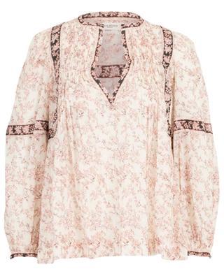 Geraffte Bluse aus geblümter Baumwolle mit V-Ausschnitt Violette ISABEL MARANT