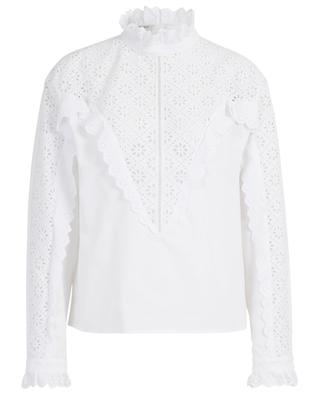Poplin blouse with ruffled collar adorned with openwork embroideries PHILOSOPHY