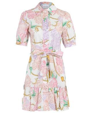 Sash printed poplin cotton short dress HAYLEY MENZIES