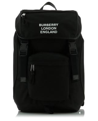 Rocky logo print nylon and leather backpack BURBERRY