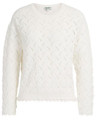 Wave pattern openwork knit cotton blend jumper KENZO