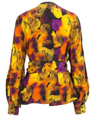 Watercolour printed silk blend wrap blouse GANNI