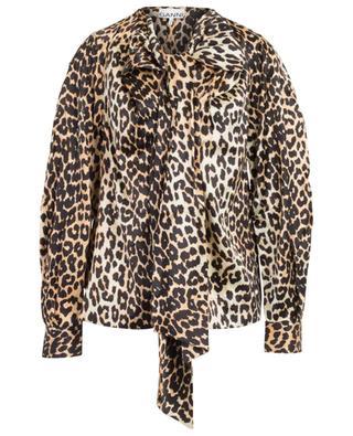 Blouse en soie imprimée léopard à lavallière GANNI