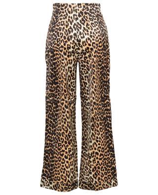 Pantalon taille haute en soie imprimé léopard GANNI