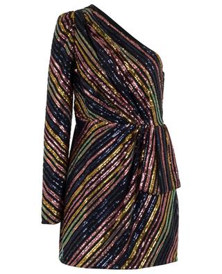 Sequin stripe asymmetric mini dress SELF PORTRAIT