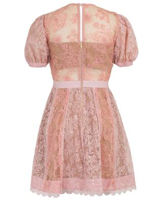 Pink puff sleeve lace mini dress with sequin embroideries SELF PORTRAIT