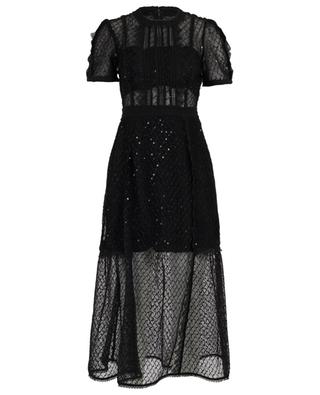 Sequined mesh midi dress with puff sleeves SELF PORTRAIT