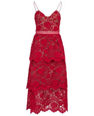 Fuchsia flower lace strappy midi dress SELF PORTRAIT