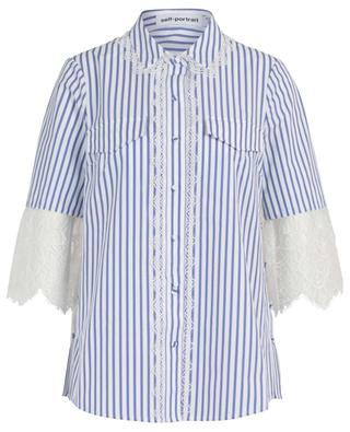 Loose striped shirt with lace back panel SELF PORTRAIT