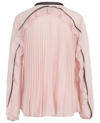 Pink chiffon blouse adorned with black guipure SELF PORTRAIT