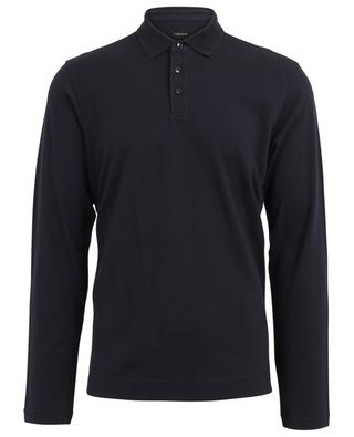 Long-sleeved polo shirt with textured collar Z ZEGNA