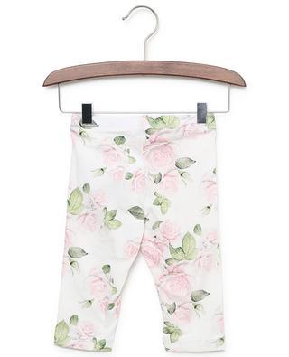 Roses print cotton blend leggings MONNALISA