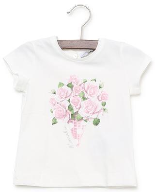 Rose printed cotton T-shirt MONNALISA