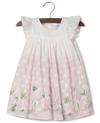 Sleeveless polka dot and rose print poplin dress MONNALISA