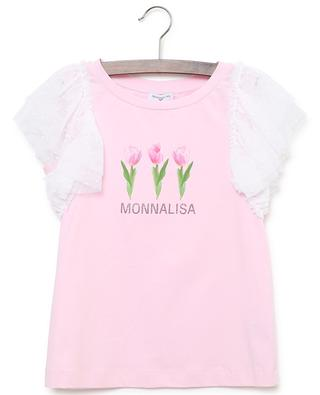 Flower print and crystal embellished cotton top MONNALISA
