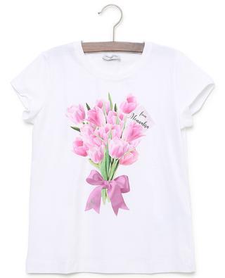 T-shirt en coton imprimé tulipes MONNALISA
