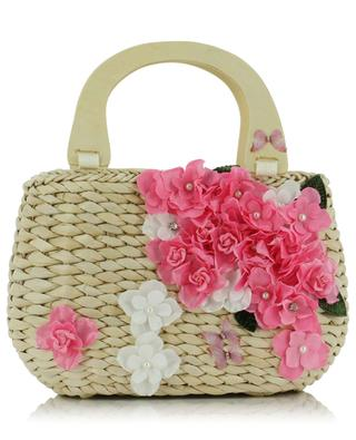 Basket bag with fabric flowers MONNALISA