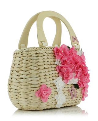 Basket bag with fabric flowers MONNALISA
