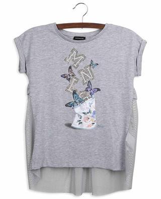 Butterfly printed jersey and net T-shirt MONNALISA