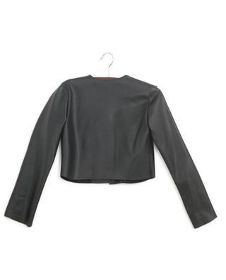 Short ruffled faux leather jacket MONNALISA