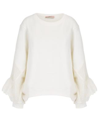 Sweatshirt aus Baumwolle mit Lochstickereien und Rüschen TWINSET