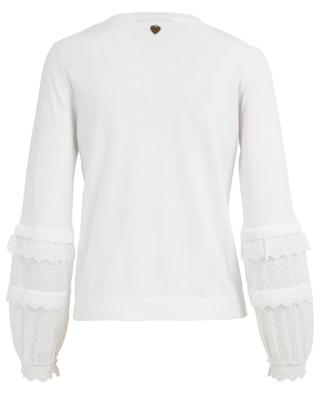 Pull col rond en coton broderies anglaises TWINSET