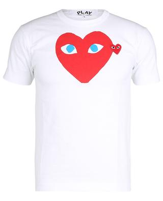 Baumwoll-T-Shirt mit Print und Herz-Aufnäher COMME DES GARCONS PLAY