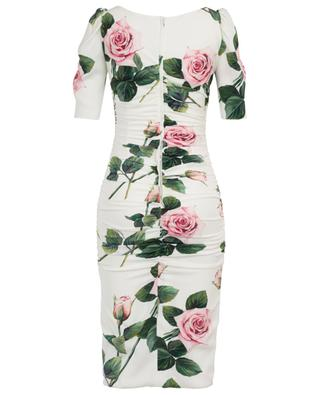 Tropical Rose printed draped charmeuse dress DOLCE & GABBANA