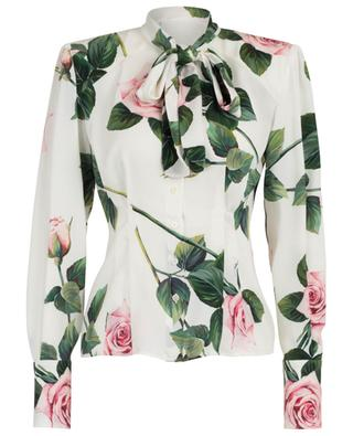 Hemd aus geblümter Charmeuse Tropical Rose DOLCE & GABBANA