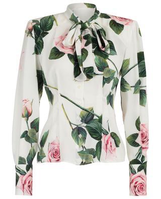 Chemise en charmeuse fleurie Tropical Rose DOLCE & GABBANA