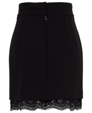 Chantilly lace embellished wool mini skirt DOLCE & GABBANA