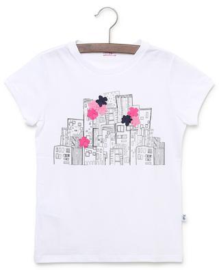 T-shirt en jersey imprimé et fleurs appliquées IL GUFO