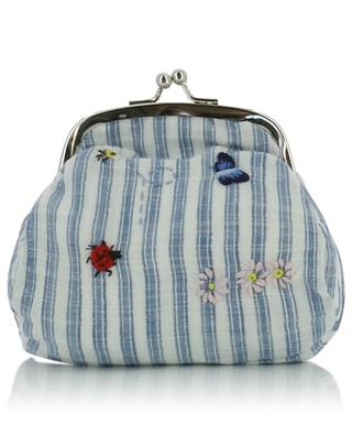 Striped cotton shoulder bag with embroideries IL GUFO