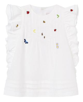 Ruffled and embroidered cotton top IL GUFO