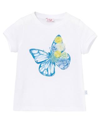 T-shirt en coton imprimé papillon fleurs appliquées IL GUFO