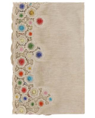 Girandolina embroidered cotton and silk scarf FALIERO SARTI