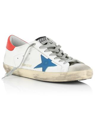 Used-Look-Sneakers aus weissem Leder mit blauem Stern Superstar GOLDEN GOOSE