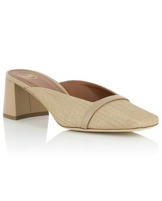 Carmen 45 raffia and leather square toe mules MALONE SOULIERS