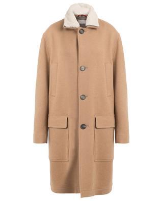 Manteau en poil de chameau avec col en peau lainée BRUNELLO CUCINELLI