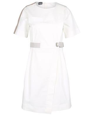 Kurzes Kleid aus leichter Gabardine in Wickeloptik LORENA ANTONIAZZI