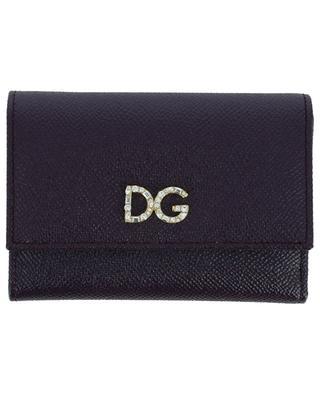 Petit portefeuille en cuir texturé DG Crystals DOLCE & GABBANA