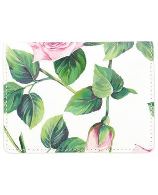Mini-portefeuille en cuir texturé dauphine Tropical Rose DOLCE & GABBANA