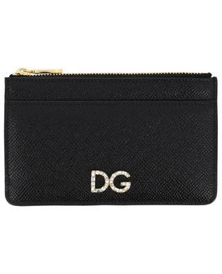 Porte-cartes en cuir avec poche zippée DG Crystals DOLCE & GABBANA